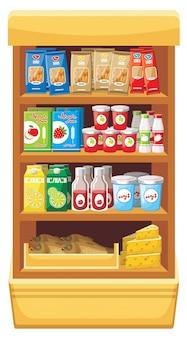 Imagem de prateleiras com diferentes produtos no supermercado