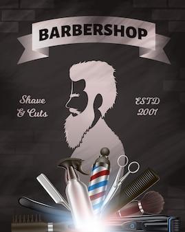 Imagem de publicidade de barbearia. barbeiro metal tool set items. homem de silhueta com barba