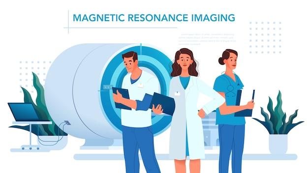 Imagem de ressonância magnética. pesquisa e diagnóstico médico. scanner tomográfico moderno. banner de anúncio de clínica de ressonância magnética ou cabeçalho de site, ideia de banner.