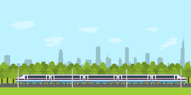 Imagem de trem na ferrovia com a silhueta da floresta e da cidade no fundo, estilo infográfico