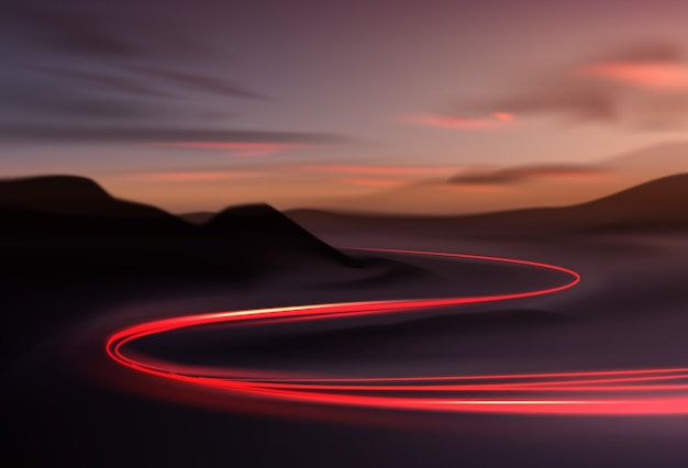 Imagem de trilhas de luz coloridas com efeito de desfoque de movimento