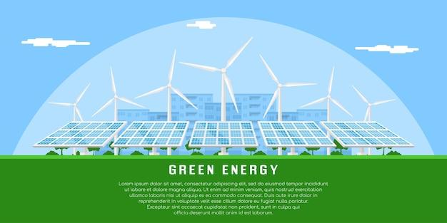 Imagem de turbinas eólicas e painéis solares, banner de conceito de energia eólica e solar renováveis