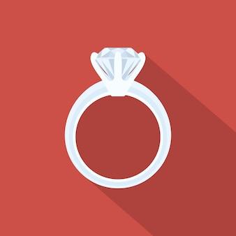 Imagem de um anel de ouro branco com diamante, ilustração de estilo