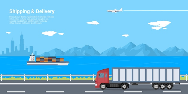 Imagem de um caminhão na estrada, uma barcaça no mar e um avião no céu com montanhas e a silhueta de uma cidade grande no fundo, conceito de frete e entrega, ilustração de estilo