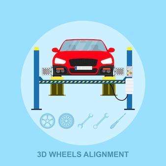 Imagem de um carro com dispositivo de alinhamento computadorizado na roda, estação de serviço de alinhamento, ilustração de estilo