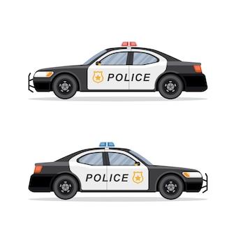Imagem de um carro de polícia em fundo branco. .