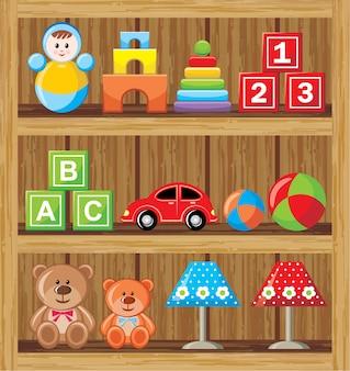 Imagem de um conjunto de brinquedos infantis em prateleiras de madeira.