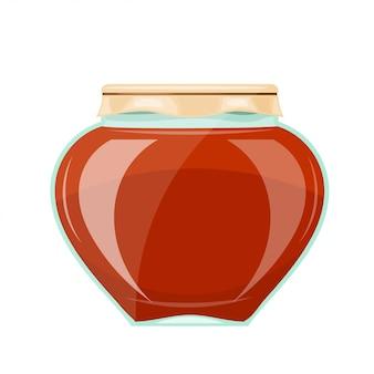 Imagem de um frasco de vidro com um mel escuro e a tampa de papel. estilo dos desenhos animados. ilustração vetorial de estoque