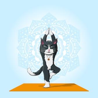 Imagem de um gato realizando vrikshasana com padrão de mandala em fundo azul, conceito de ioga e meditação