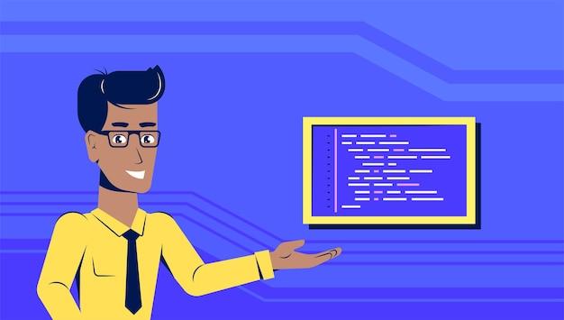 Imagem de um homem programador inteligente com uma amostra de código. projeto de banner de estilo simples. codificação, programação, conceito de desenvolvimento de aplicativos
