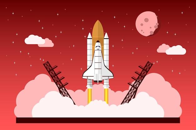 Imagem de um ônibus espacial começando na frente do céu com estrelas, nuvens e lua, conceito para projeto inicial, novo negócio, produto ou serviço