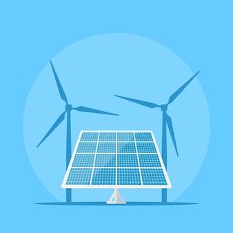 Imagem de um painel solar com silhueta de turbina eólica no fundo, conceito de energia solar