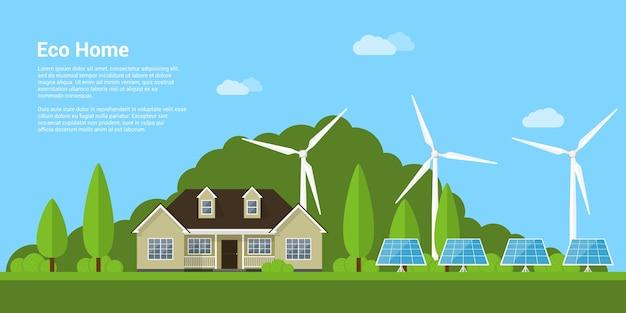 Imagem de uma casa privada, painéis solares e turbinas eólicas com montanhas ao fundo, conceito de estilo de casa ecológica, energia renovável, ecologia