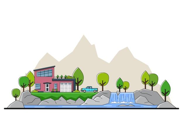 Imagem de uma casa residencial privada moderna com árvores e uma grande silhueta no fundo, conceito da indústria imobiliária e de construção,