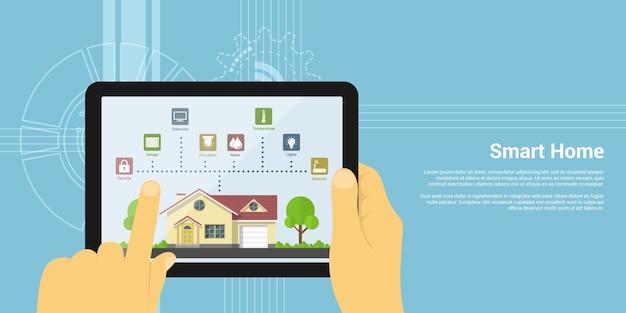 Imagem de uma mão humana segurando um tablet com ícones de monitoramento de casa, conceito de estilo de uma casa inteligente