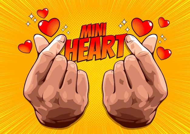Imagem de uma mão mostrando um mini coração, sinal de amor coreano, símbolo de mão para entregar amor.