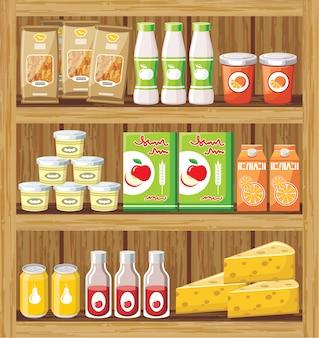 Imagem de uma prateleira de madeira com os produtos na loja.