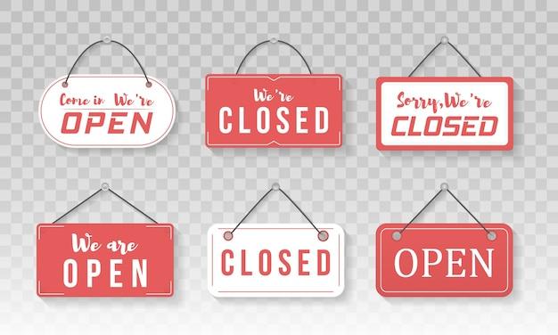Imagem de vários sinais de negócios abertos e fechados