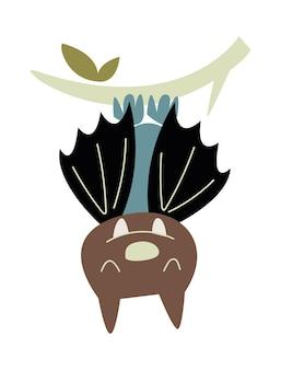 Imagem de vetor de morcego bonito em estilo cartoon, isolado no fundo branco estilo de tendência e