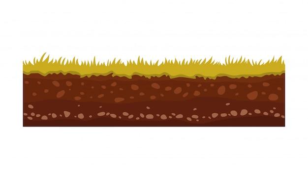 Imagem de vetor de solo e solo sem costura para jogos de interface do usuário. superfície do solo, ilustração de grama de pedra.