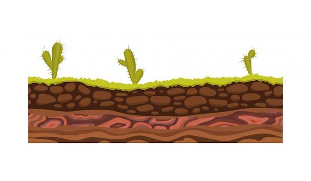 Imagem de vetor de solo, solo e terra padrão sem emenda para jogos de interface do usuário. superfície do solo, ilustração de grama de pedra.