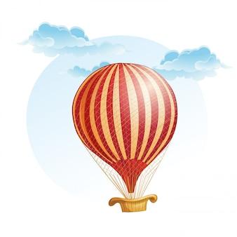 Imagem do balão em uma faixa nas nuvens
