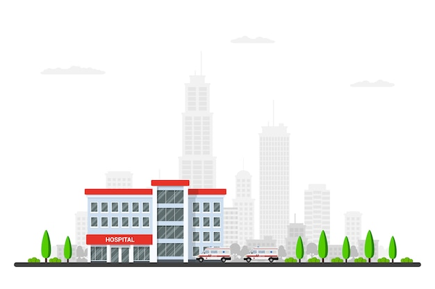 Imagem do edifício do hospital com ambulâncias, árvores e sillhouette da cidade bi no fundo. .