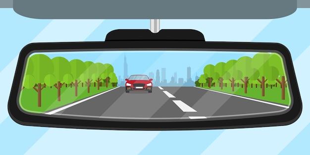 Imagem do espelho retrovisor de um carro refletido na estrada, outro carro, árvores e a silhueta de uma cidade grande, ilustração de estilo