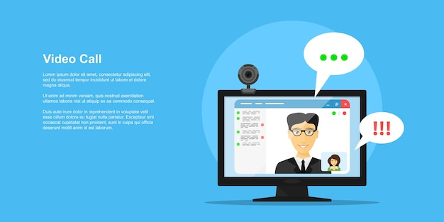 Imagem do monitor do computador com interface de aplicativo de conferência online, câmera da web e avatares de pessoas, banner de conceito de estilo, chamada de vídeo, conferência online, treinamento online