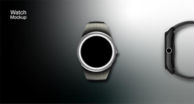 Imagem do relógio inteligente e ilustração dos recursos do relógio, chamadas