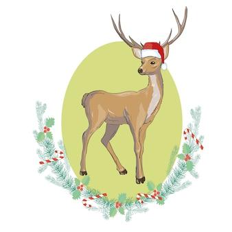 Imagem do vetor de um cervo e de chapéus de santa. feliz natal