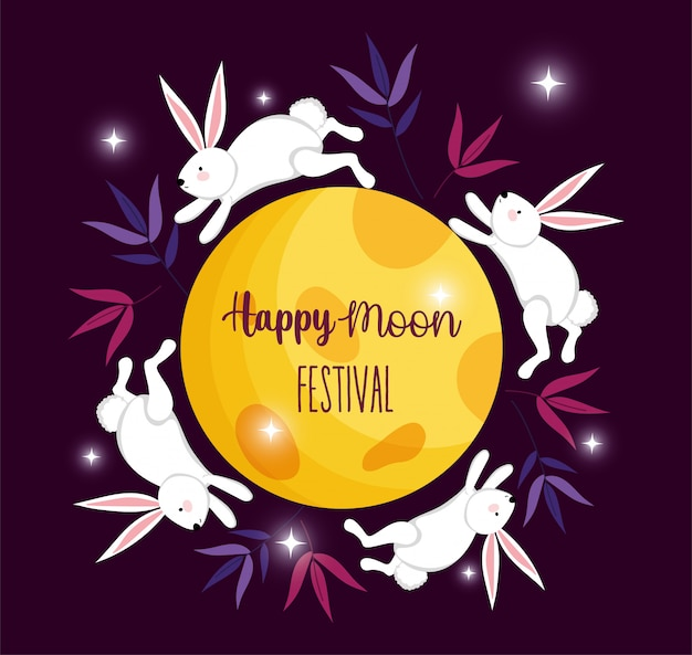 Imagem festival de lua feliz coelho