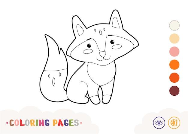 Imagem incolor de uma linda raposa linear isolada no fundo branco animais selvagens em idade pré-escolar, cor de crianças
