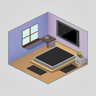 Imagem isométrica a imagem mostra uma sala isométrica, um quarto. o quarto tem uma janela, tv, cama. todos os itens são isométricos.