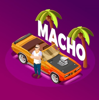 Imagem isométrica de carro de luxo de homem machão