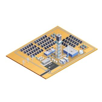 Imagem isométrica de modelo de estação solar