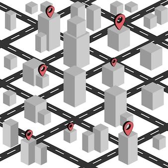 Imagem isométrica uma pequena cidade com marcas de navegação é desenhada. todos os itens são isométricos.