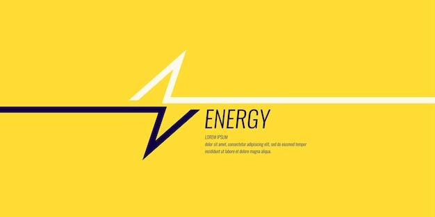 Imagem linear de um raio em um fundo liso amarelo com texto. ilustração vetorial.
