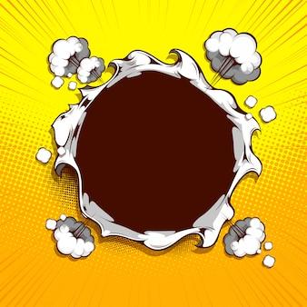 Imagem o círculo de papel está rasgado no meio no fundo amarelo.