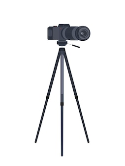 Imagem plana de câmera de vídeo em um tripé
