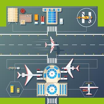 Imagem plana de vista superior de pistas de aeroporto