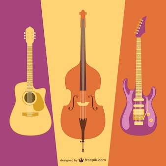 Imagem plana do vetor da guitarra