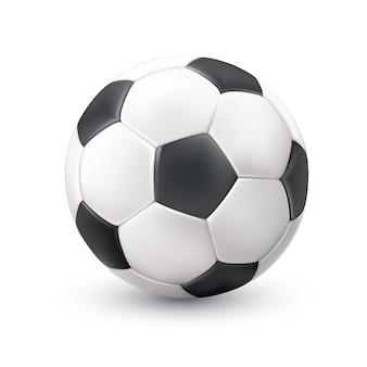 Imagem preta branca realística da bola de futebol