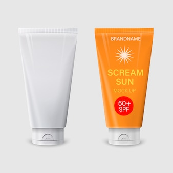 Imagem realista de embalagem fosca e brilhante em branco para cosméticos. layout de creme protetor solar.