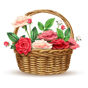 Imagem realista de flores de rosas cesta de vime