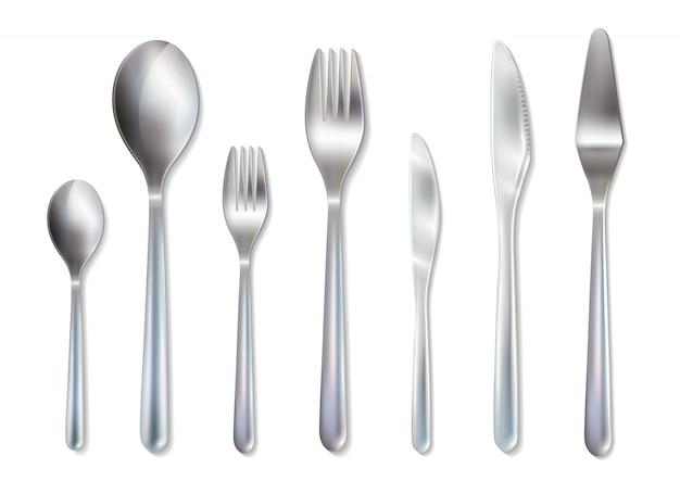 Imagem realista de jantar de recepção de talheres