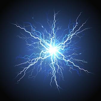Imagem realista de um raio elétrico starburst