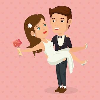 Imagem romântica de casal recém casado