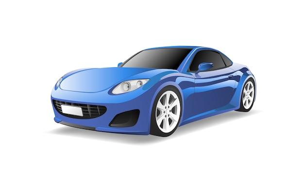 Imagem tridimensional do carro azul isolado no fundo branco