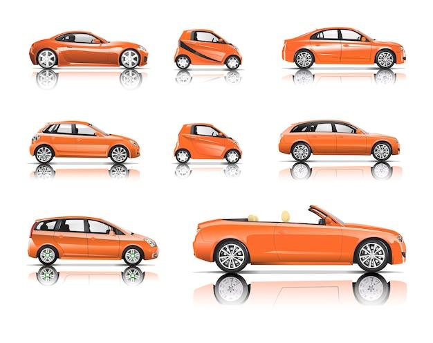 Imagem tridimensional do carro laranja isolado no fundo branco